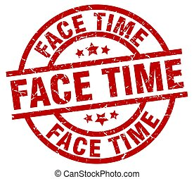 face time round red grunge stamp