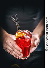 Red non alcoholic cocktail - Barman serve fresh red non...