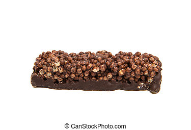 chocolate bar with air rice on a white background