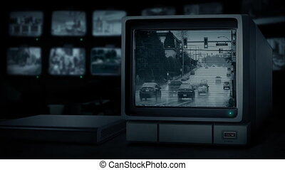CCTV Station Watching Traffic In Heavy Rain - CCTV station...