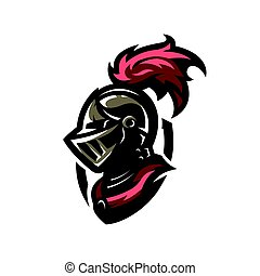 Medieval warrior knight in helmet. Logo, emblem symbol