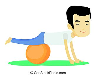 Young man exercising with fitball. - Young asian man...
