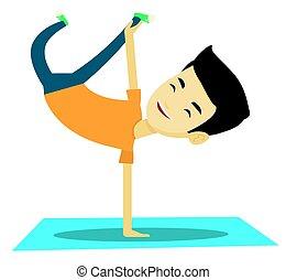 Young man breakdancing vector illustration. - Young asian...