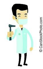 Ear nose throat doctor vector illustration. - Asian ear nose...
