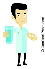 Pharmacist giving pills and glass of water. - Young asian...