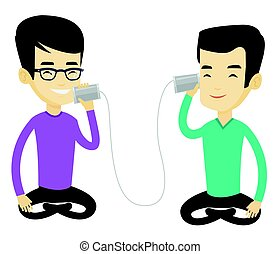 Young friends talking through tin phone. - Men discussing...