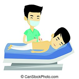 Acupuncturist doctor making acupuncture therapy. - Young...