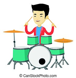 Man playing on drum kit vector illustration. - Asian...