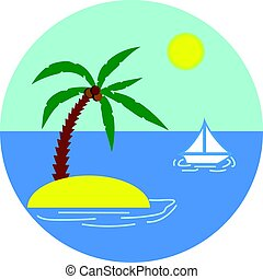 Island with Palm and Yacht in the Sea