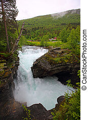Glacial river, Norway - Beautiful powerful Glacial river in...