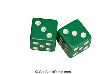 Two dice showing two triples