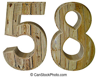 Numeral 58, fifty eight, isolated on white background, 3d...