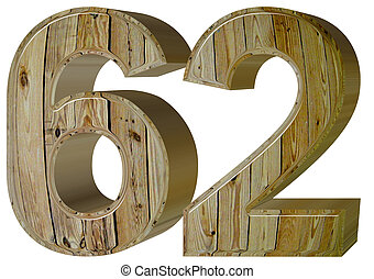 Numeral 62, sixty two, isolated on white background, 3d...