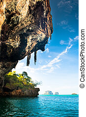 Tropical Phra Nang Beach at Railay Krabi Thailand. - Phra...