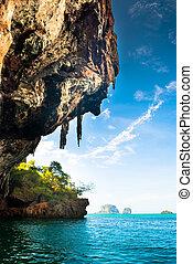 Tropical Phra Nang Beach at Railay Krabi Thailand. - Phra...
