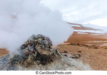 Hverir Iceland - Hverir (Hverarond), the geothermal area, is...