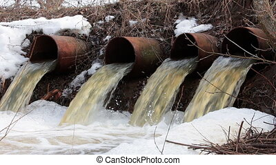 Water flows from large pipes