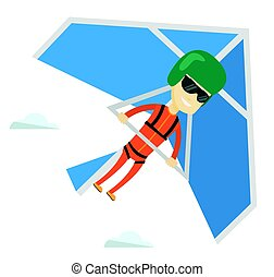 Man flying on hang-glider vector illustration. - Asian man...