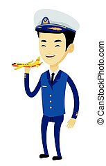 Cheerful airplane pilot with model of airplane.