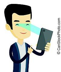 Man using iris scanner to unlock mobile phone. - Smiling...