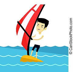 Young man windsurfing in the sea. - Asian man windsurfing....