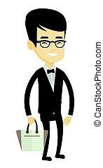 Man posing on catwalk during fashion show. - Man posing on...