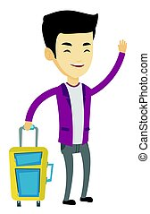 Young man hitchhiking vector illustration. - Asian man with...