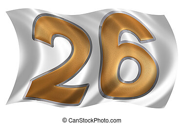 In the wind fluttering the flag with numeral 26, twenty six,...