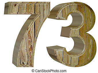 Numeral 73, seventy three, isolated on white background, 3d...