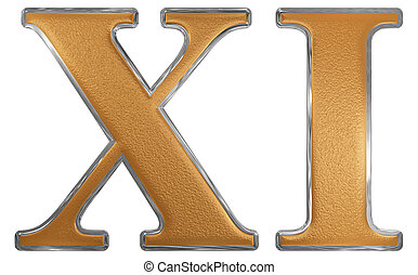 Roman numeral XI, undecim, 11, eleven, isolated on white...