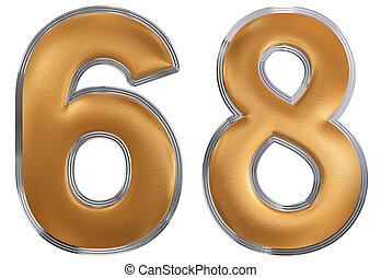 Numeral 68, sixty eight, isolated on white background, 3d...