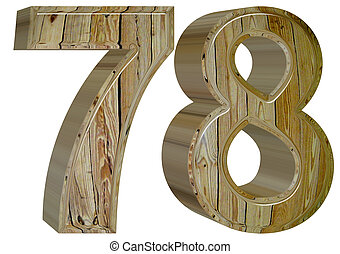 Numeral 78, seventy eight, isolated on white background, 3d...