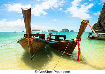 Long tail boat tropical beach, Krabi, Thailand - Long tail...