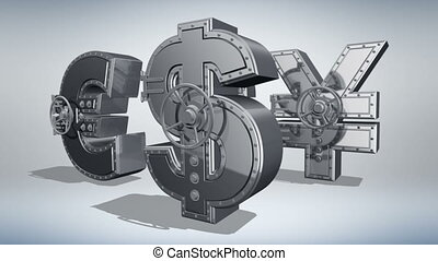 Money concept 3D - Banking safes in shape of money rotating...