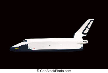 Spaceship on a black background
