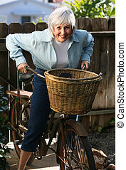 Senior and Bicycle