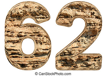 Numeral 62, sixty two, isolated on white, natural limestone,...