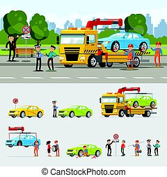 Car Evacuation Concept - Car evacuation concept with drivers...