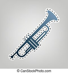 Musical instrument Trumpet sign. Vector. Blue icon with...