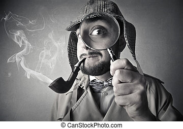 Investigator with magnifying glass