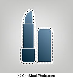 Pomade simple sign. Vector. Blue icon with outline for...