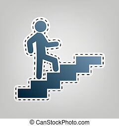 Man on Stairs going up. Vector. Blue icon with outline for cutting out at gray background.