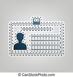 Identification card sign. Vector. Blue icon with outline for cutting out at gray background.