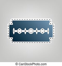 Razor blade sign. Vector. Blue icon with outline for cutting...