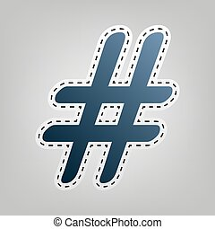 Hashtag sign illustration. Vector. Blue icon with outline...