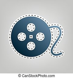 Film circular sign. Vector. Blue icon with outline for cutting out at gray background.