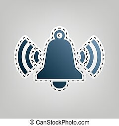 Ringing bell icon. Vector. Blue icon with outline for cutting out at gray background.