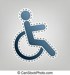 Disabled sign illustration. Vector. Blue icon with outline for cutting out at gray background.