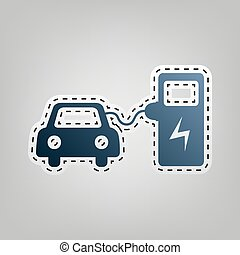 Electric car battery charging sign. Vector. Blue icon with...