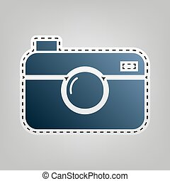 Digital photo camera sign. Vector. Blue icon with outline...